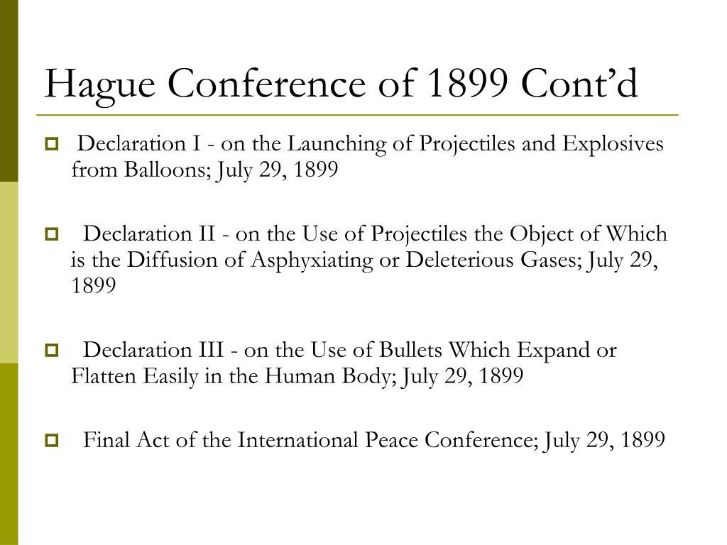 Hague Conference of 1899 Cont'd