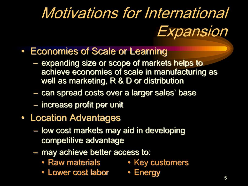 Motivations for International Expansion