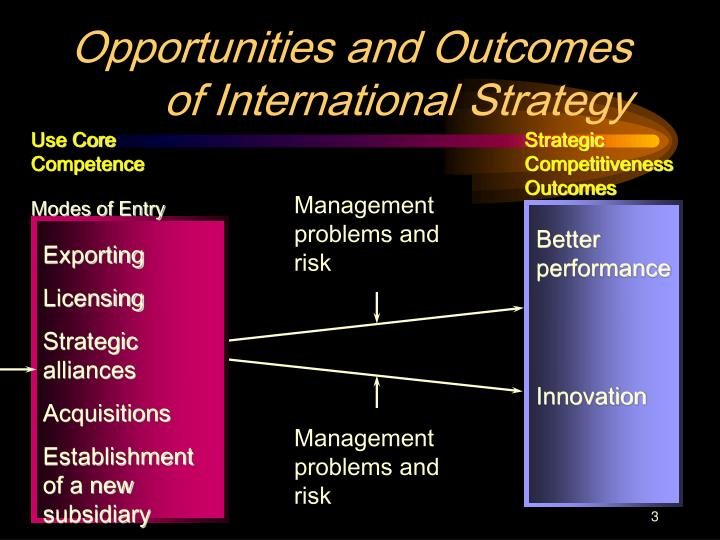 Opportunities and outcomes of international strategy3