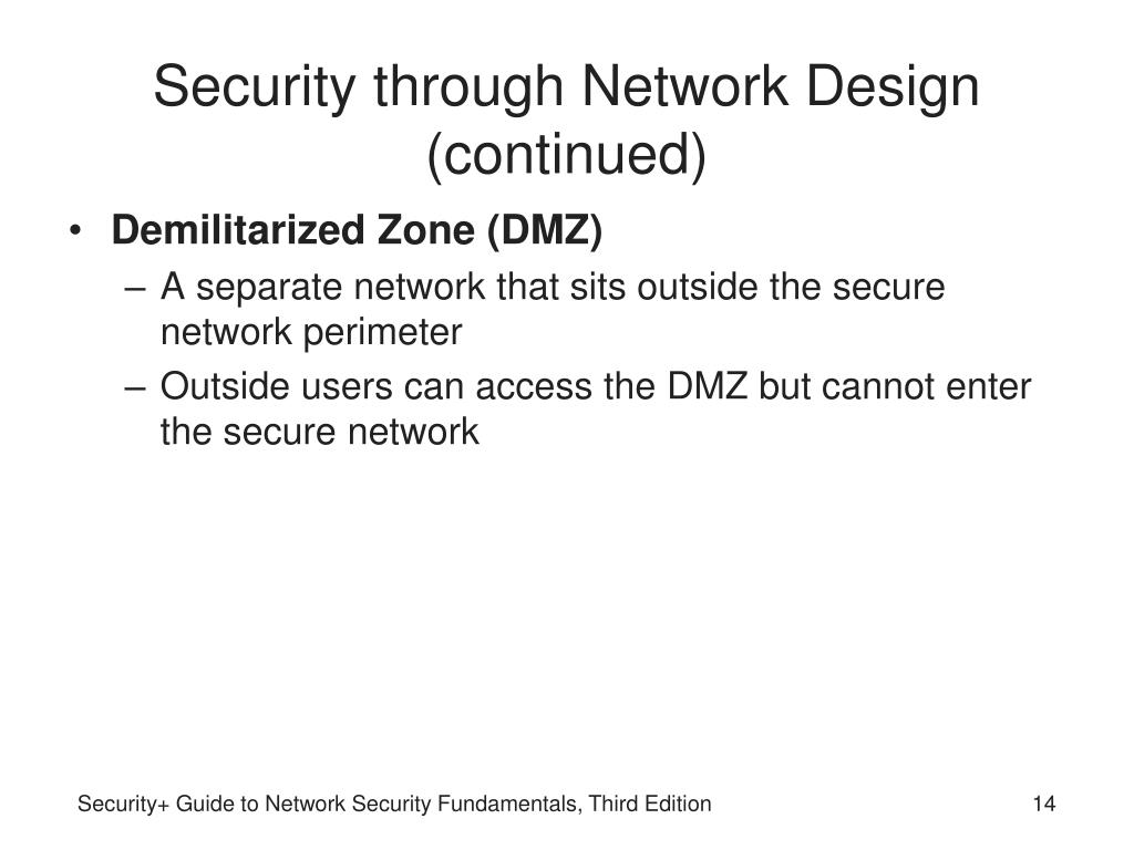 Security through Network Design (continued)