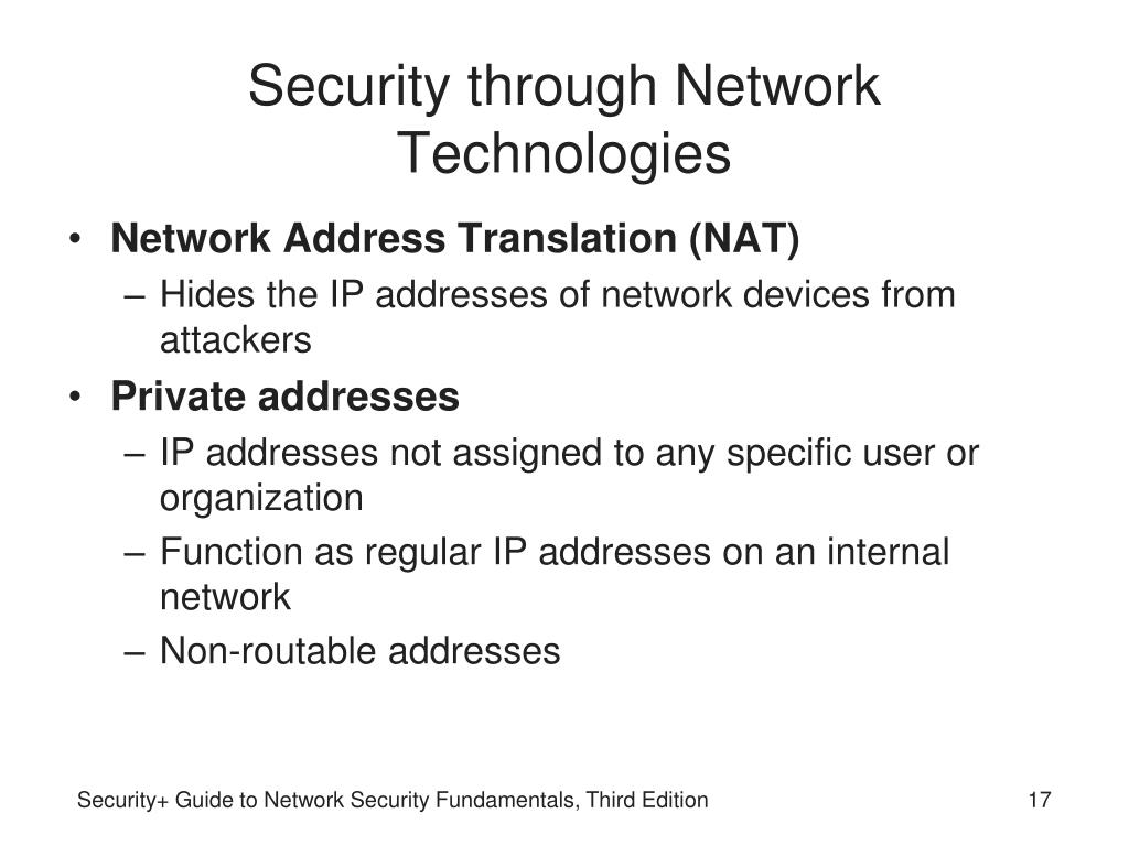 Security through Network Technologies