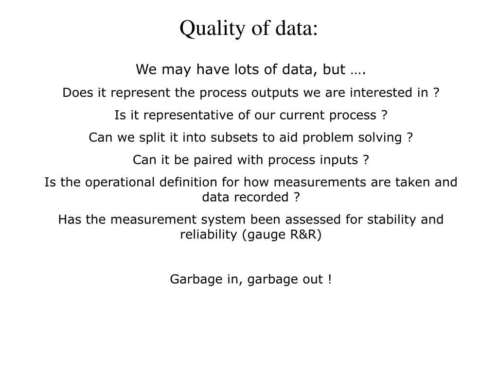 Quality of data: