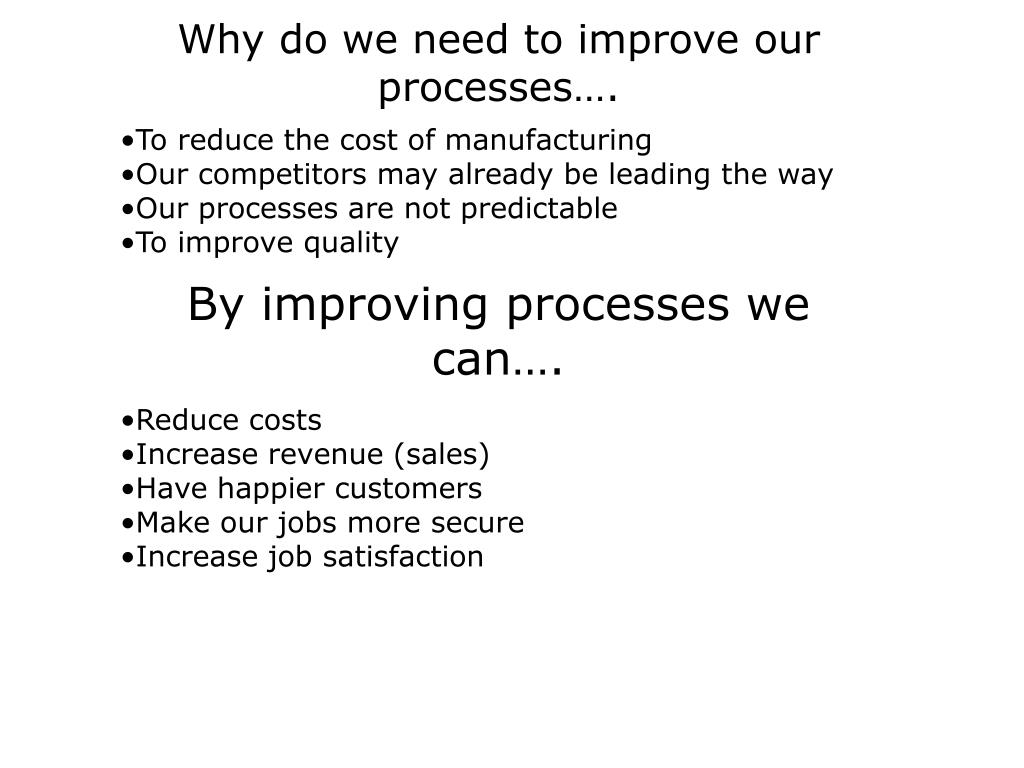 Why do we need to improve our processes….
