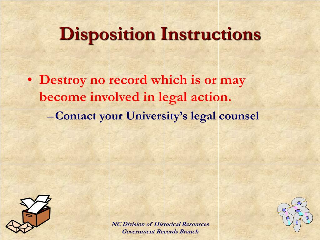 Disposition Instructions
