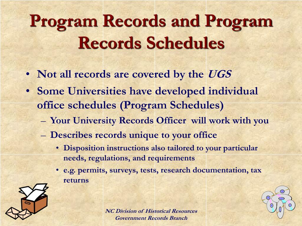 Program Records and Program Records Schedules