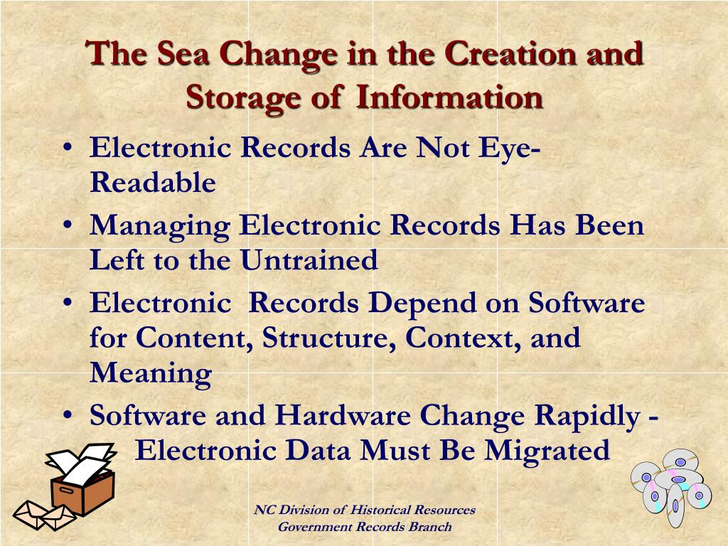 The Sea Change in the Creation and Storage of Information