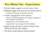 pres memo one expectations