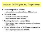 reasons for mergers and acquisitions117