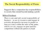 the social responsibility of firms