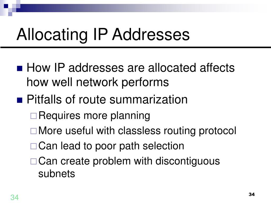 Allocating IP Addresses