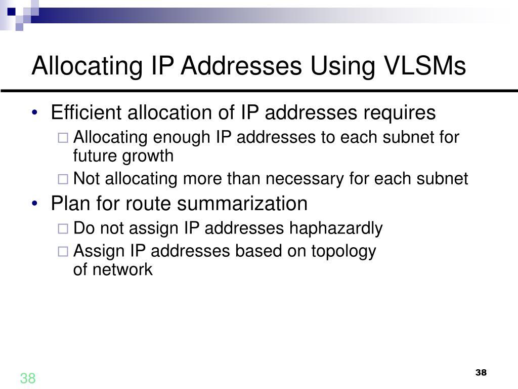 Allocating IP Addresses Using VLSMs