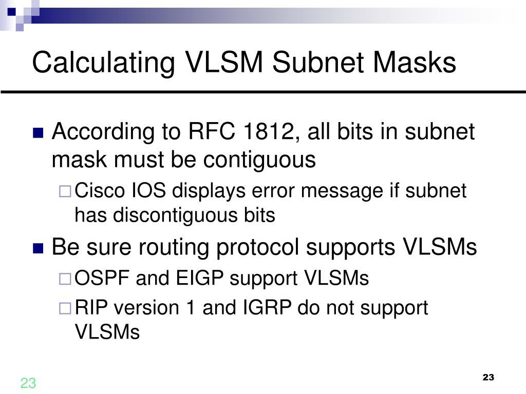 Calculating VLSM Subnet Masks