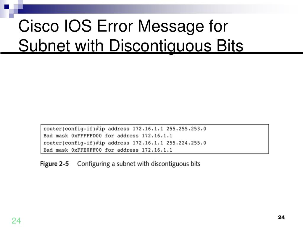 Cisco IOS Error Message for Subnet with Discontiguous Bits