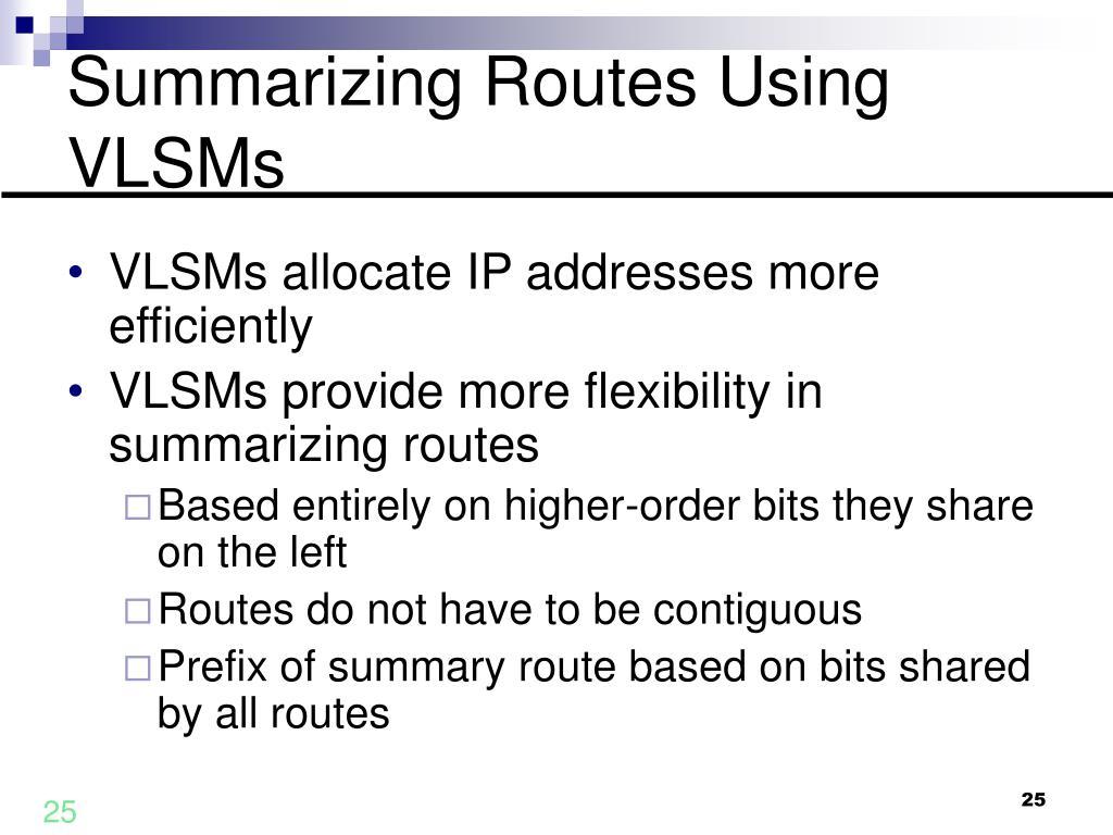 Summarizing Routes Using VLSMs