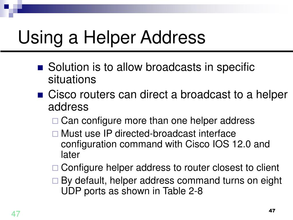 Using a Helper Address