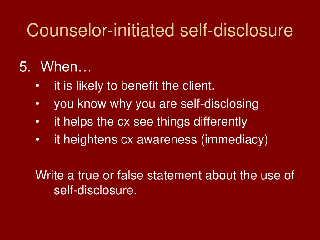Counselor-initiated self-disclosure
