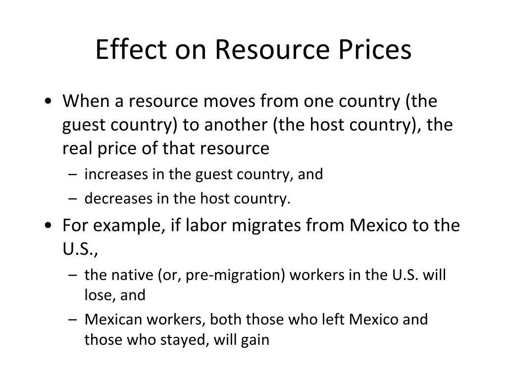 Effect on Resource Prices