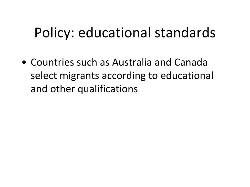 Policy: educational standards