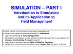 simulation part i introduction to simulation and its application to yield management