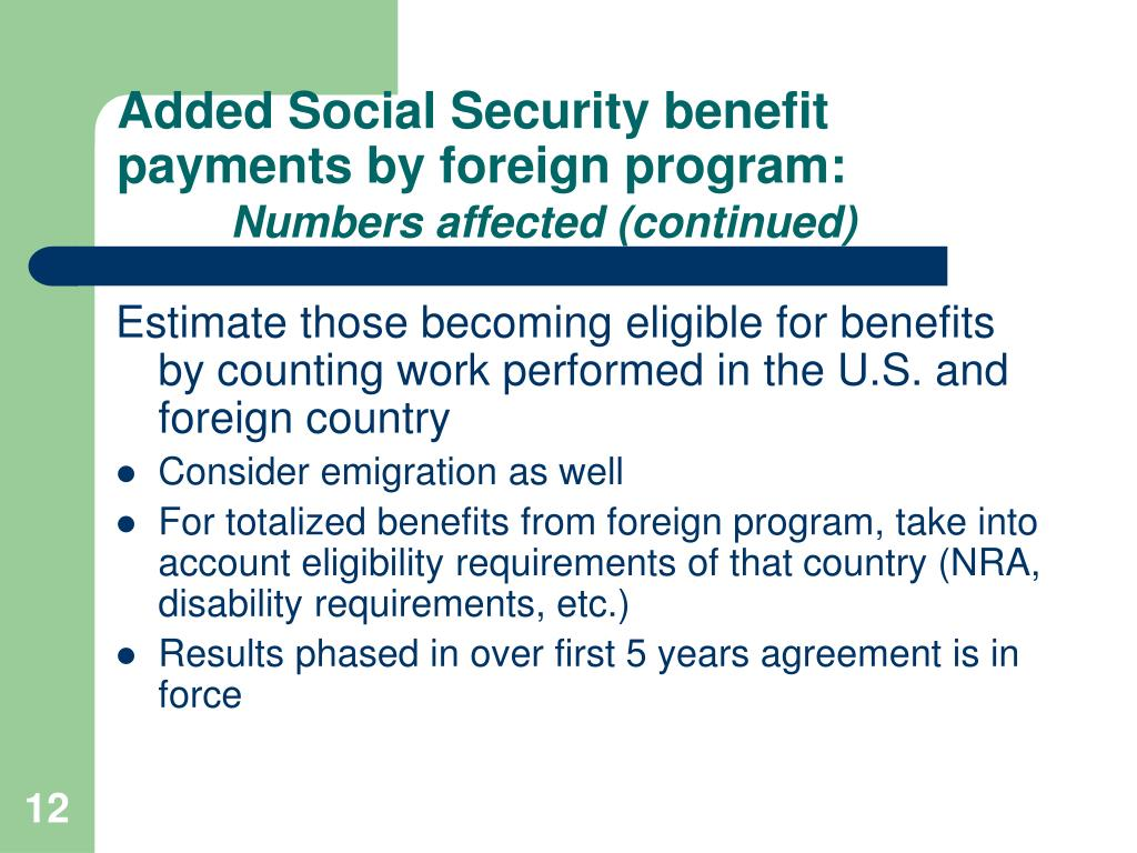 Added Social Security benefit payments by foreign program: