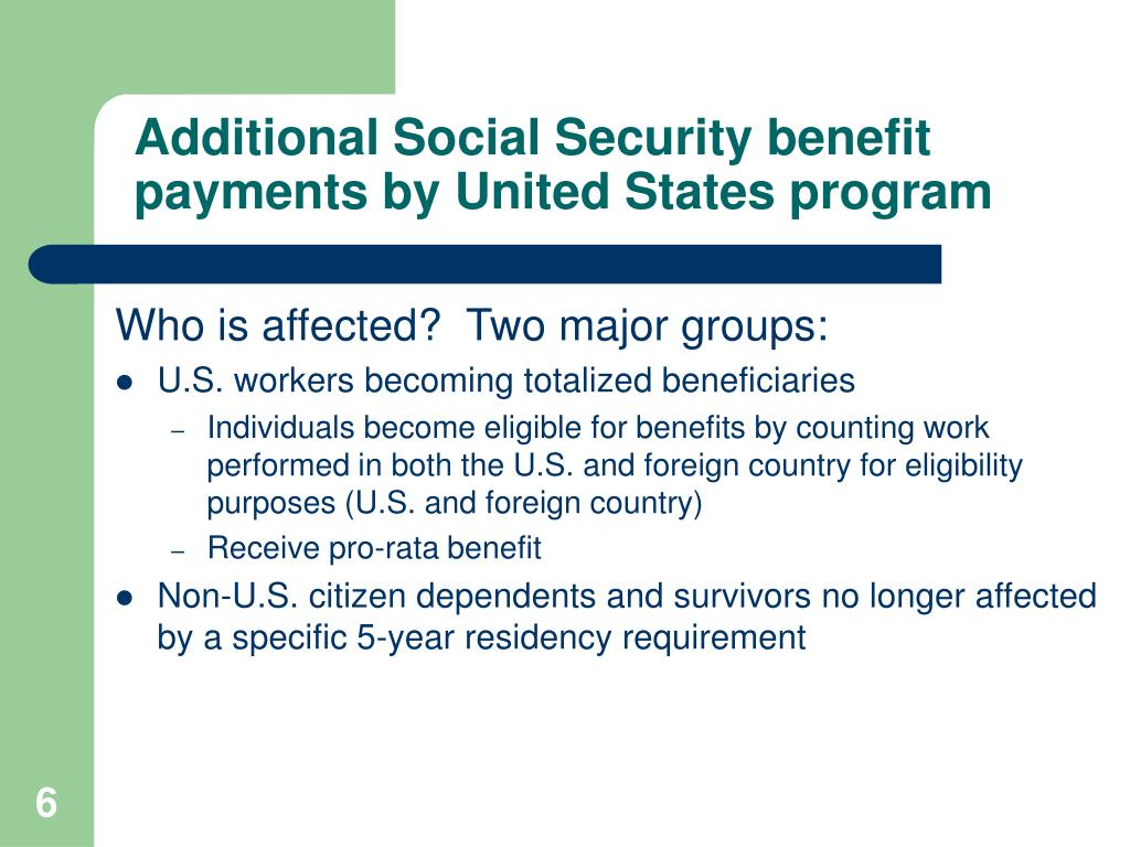 Additional Social Security benefit payments by United States program