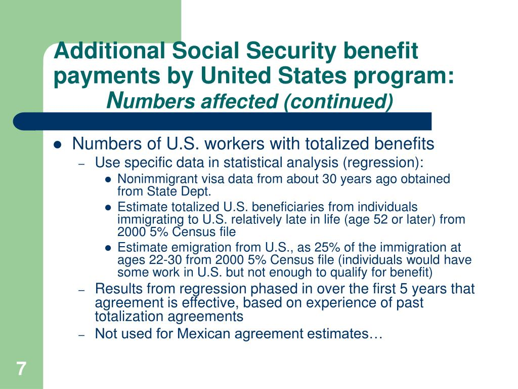 Additional Social Security benefit payments by United States program: