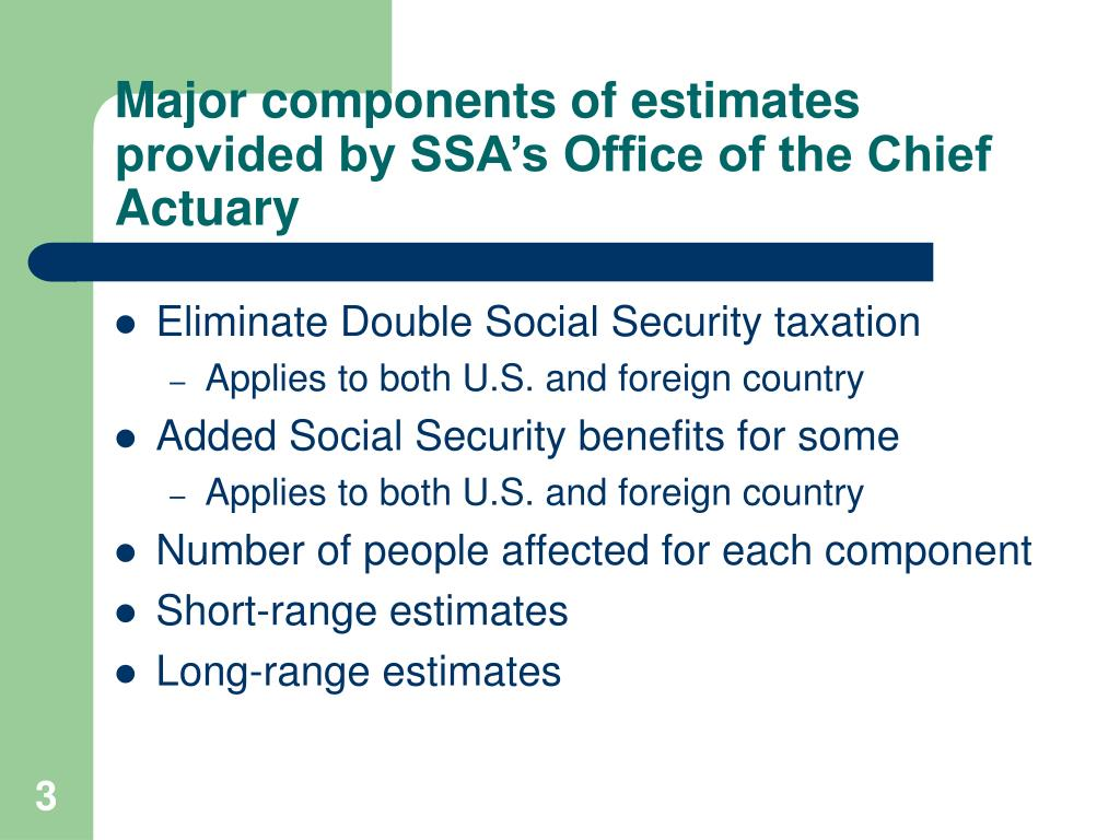 Major components of estimates provided by SSA's Office of the Chief Actuary