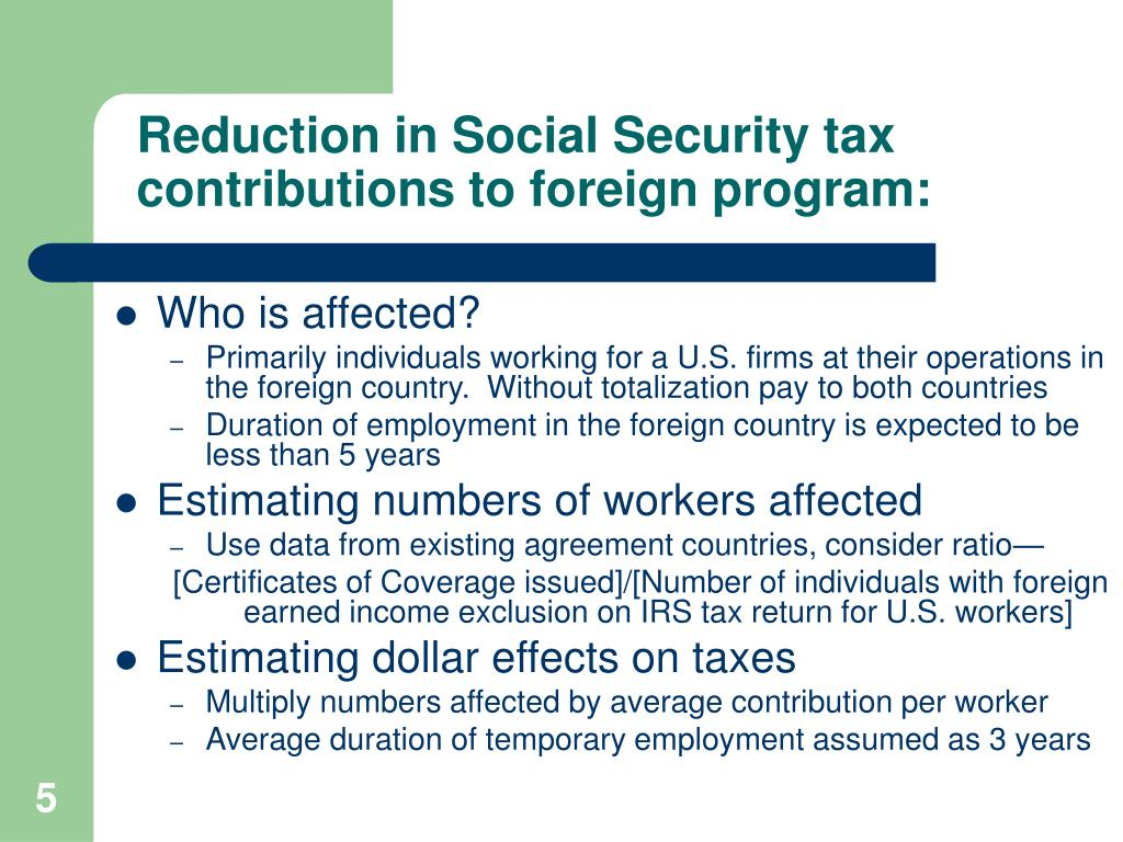 Reduction in Social Security tax contributions to foreign program: