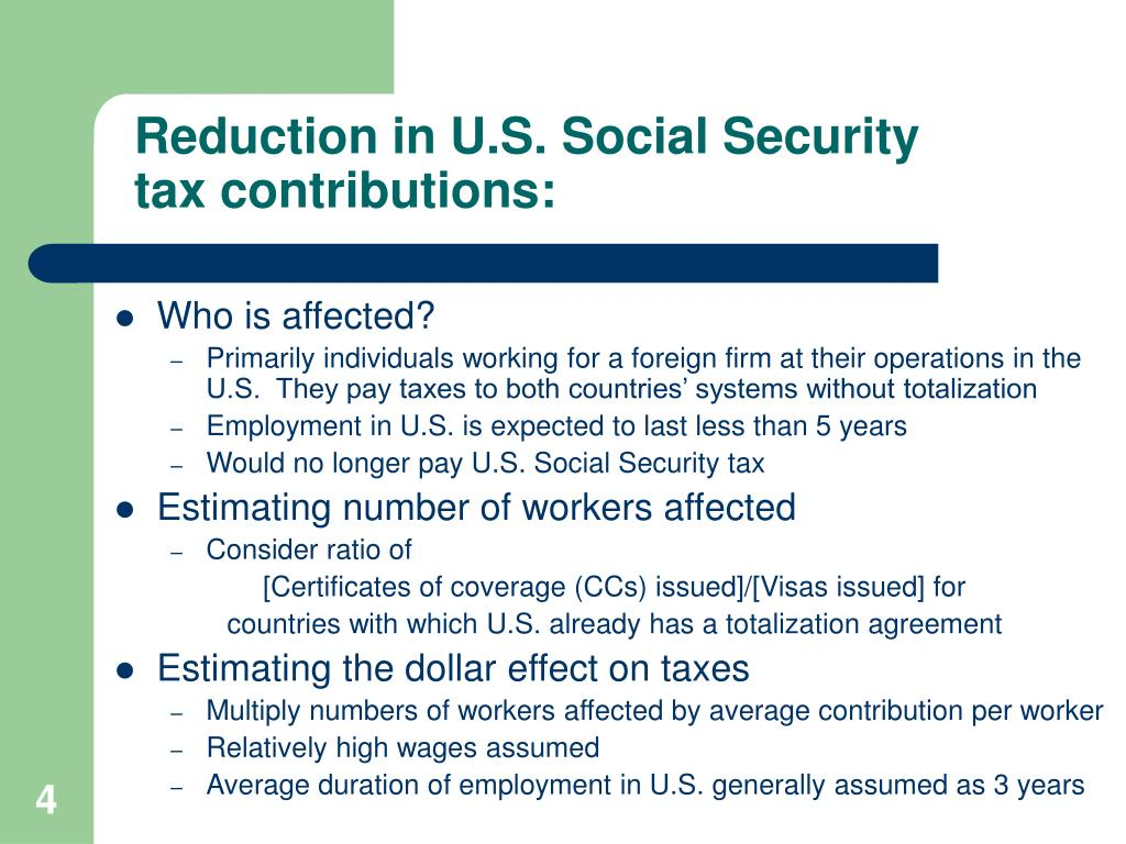 Reduction in U.S. Social Security tax contributions: