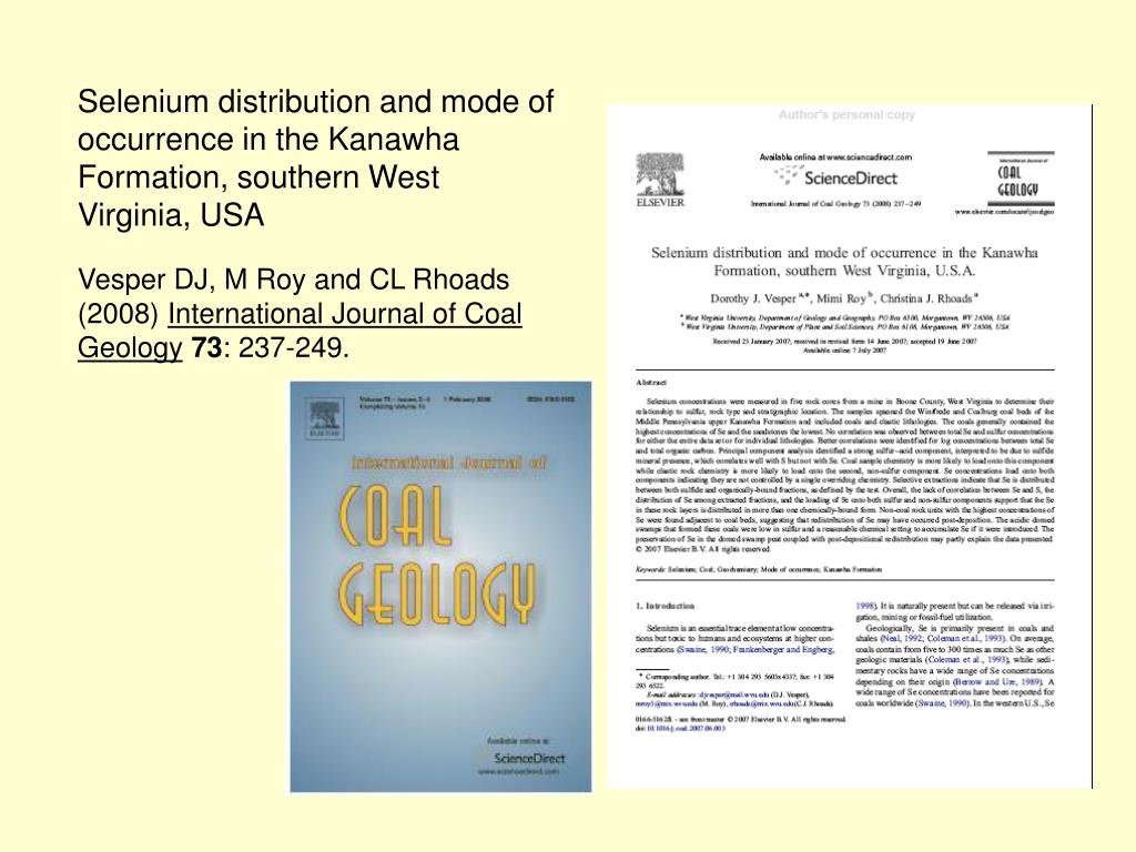 Selenium distribution and mode of occurrence in the Kanawha Formation, southern West Virginia, USA