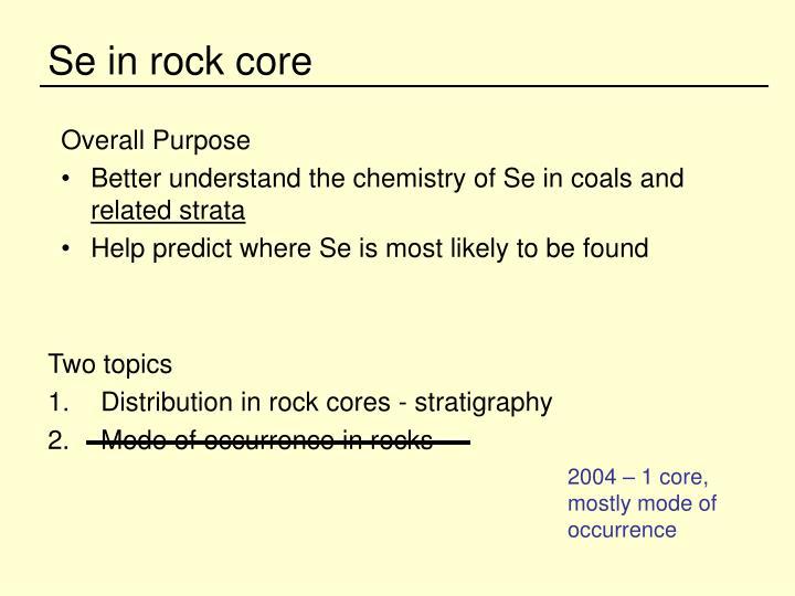 Se in rock core