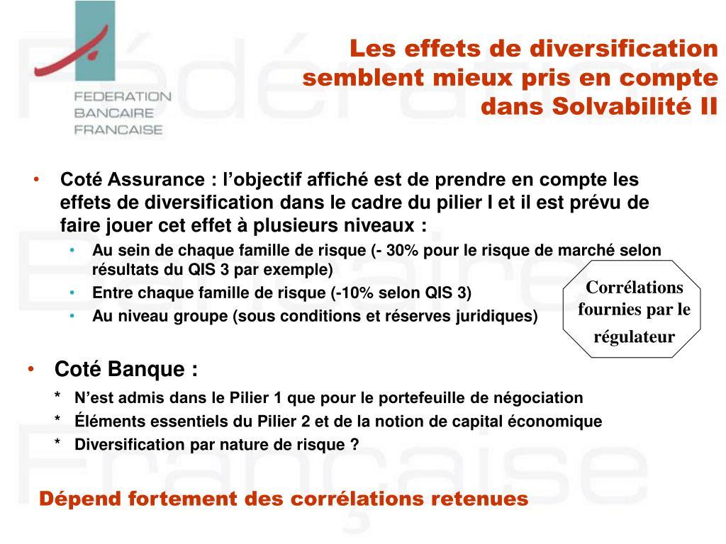 Les effets de diversification semblent mieux pris en compte dans Solvabilité II