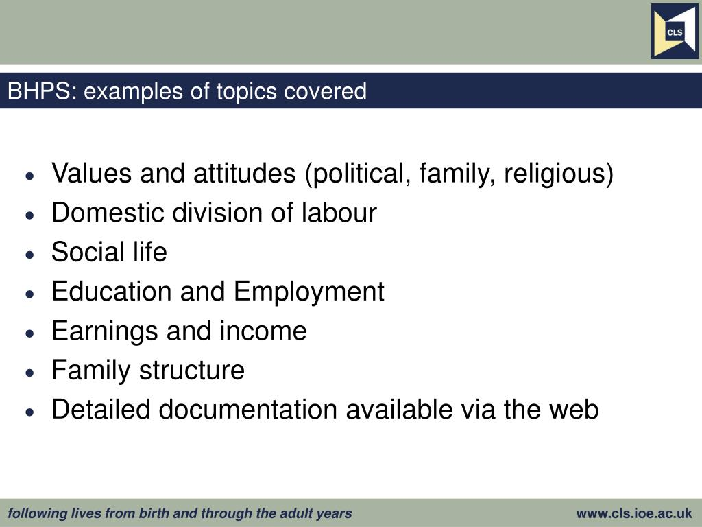 BHPS: examples of topics covered