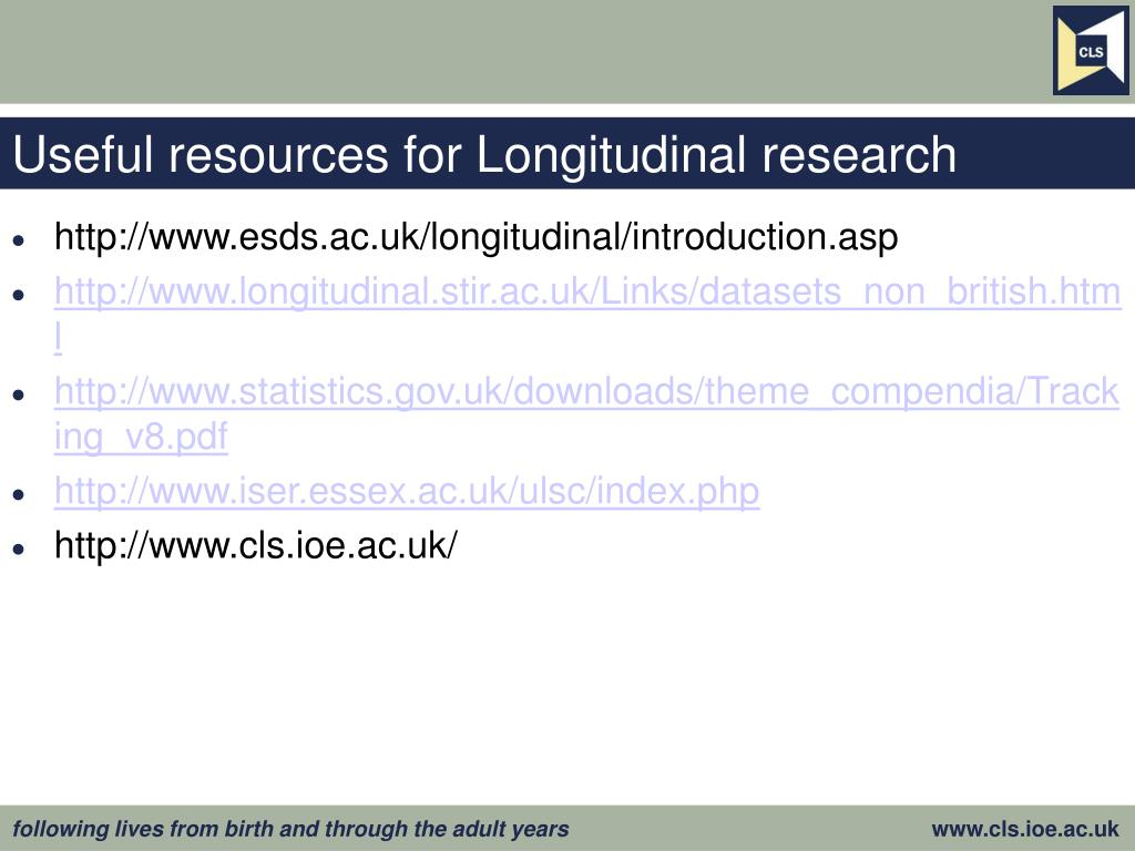 Useful resources for Longitudinal research