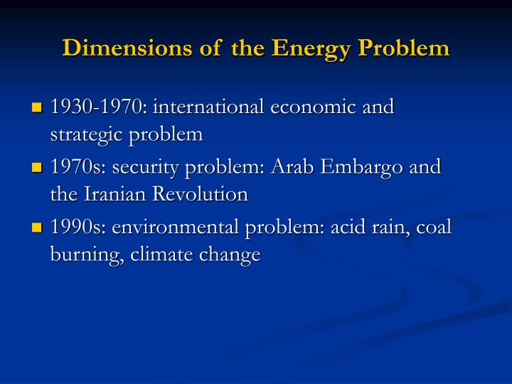 Dimensions of the energy problem