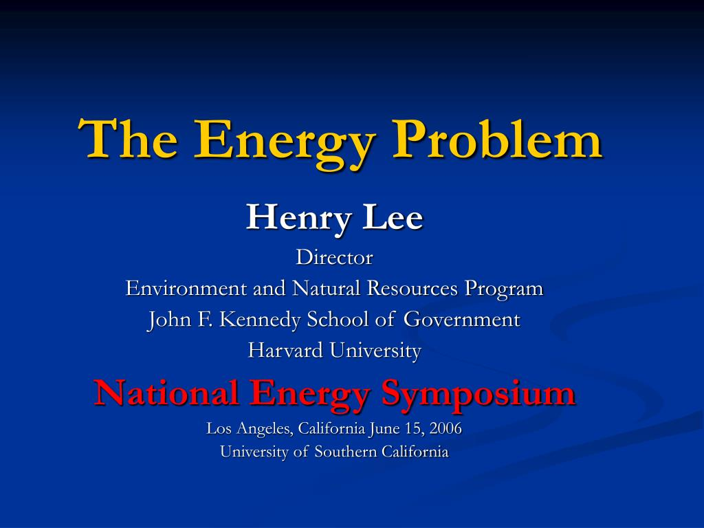 The Energy Problem