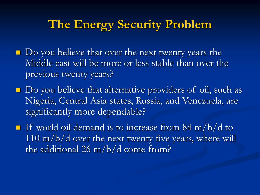 The Energy Security Problem