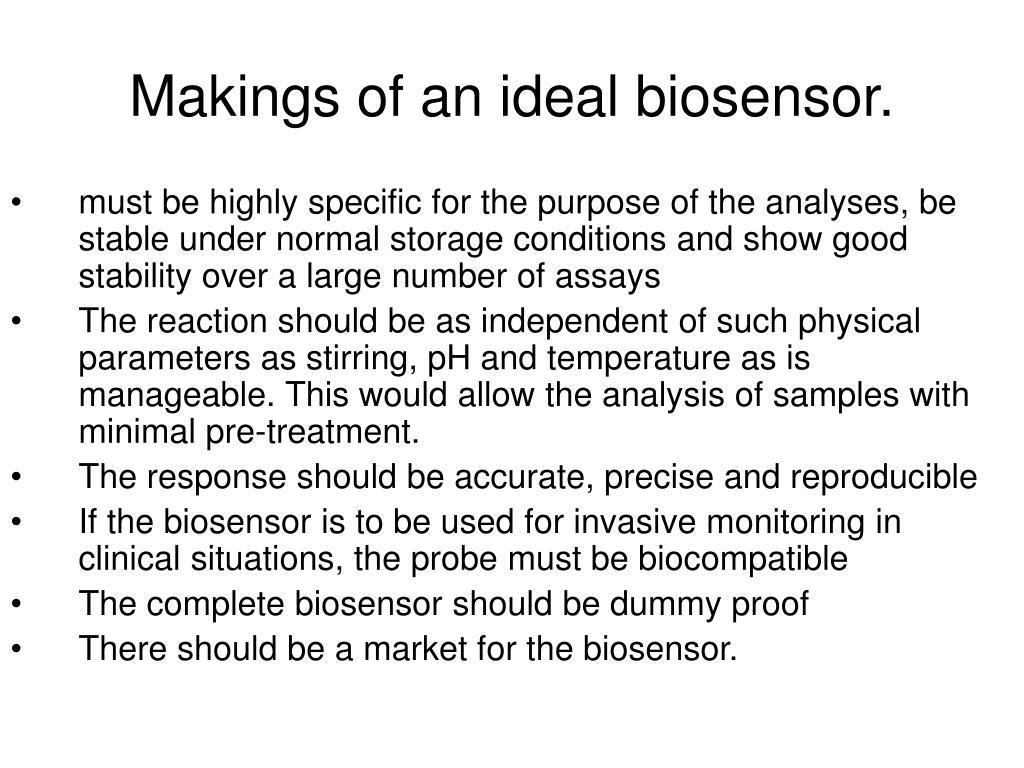 Makings of an ideal biosensor.