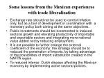 some lessons from the mexican experiences with trade liberalization