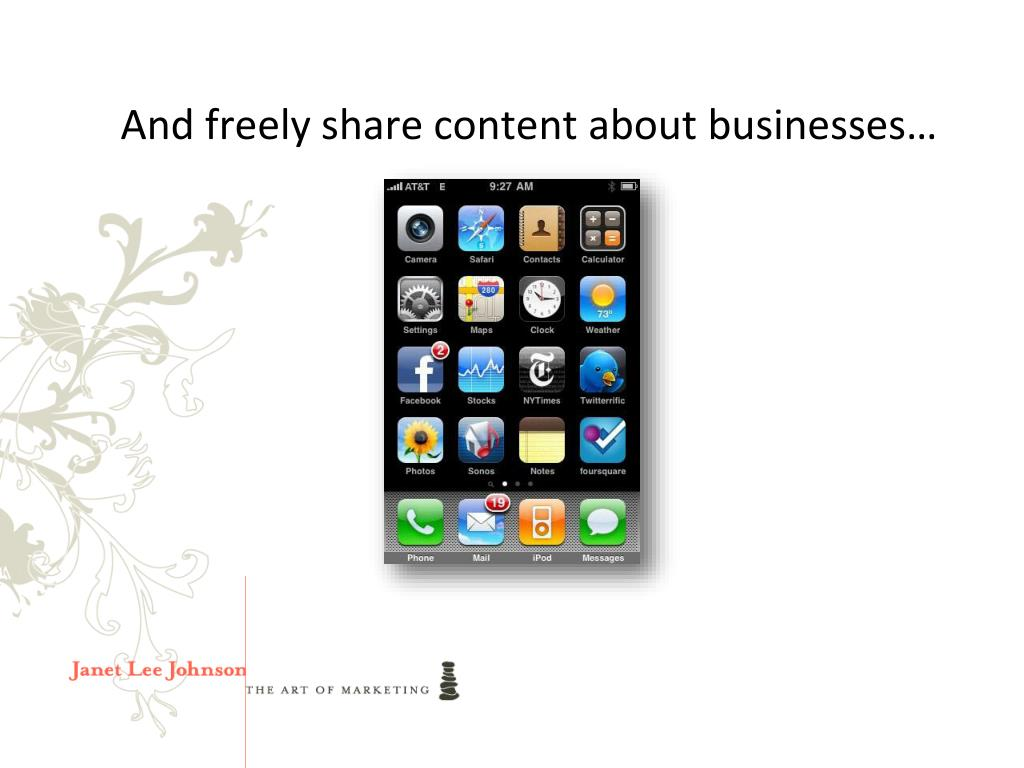 And freely share content about businesses…