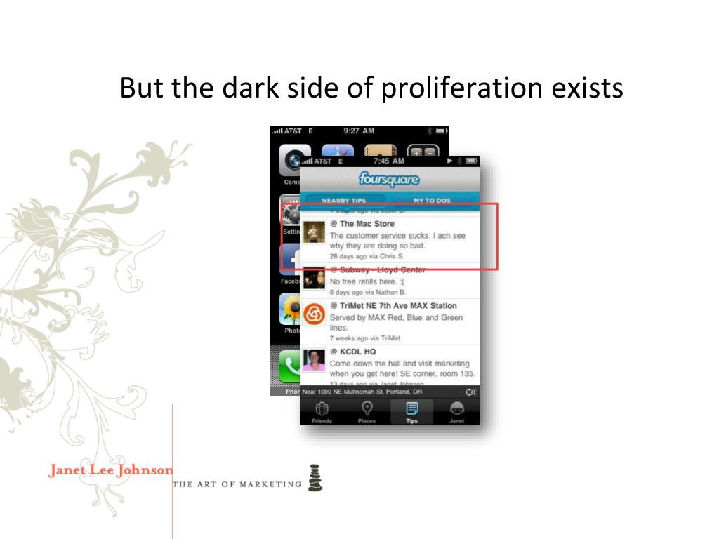 But the dark side of proliferation exists