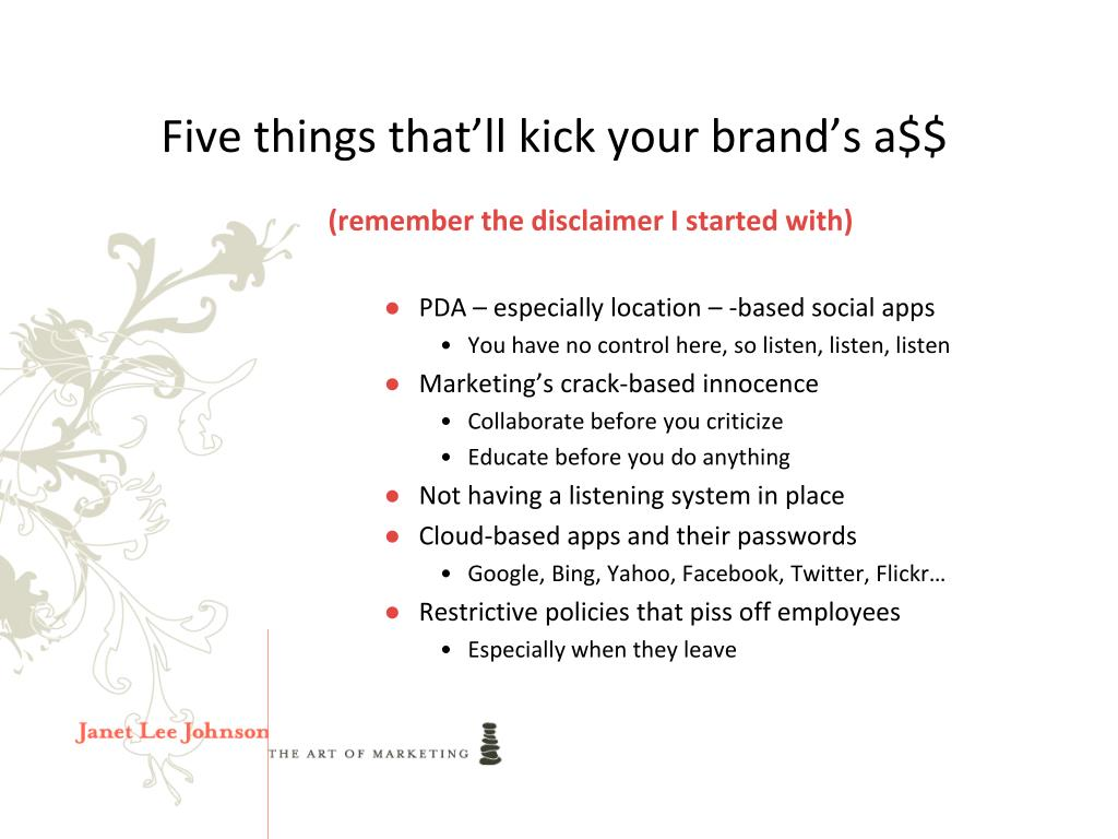 Five things that'll kick your brand's a$$