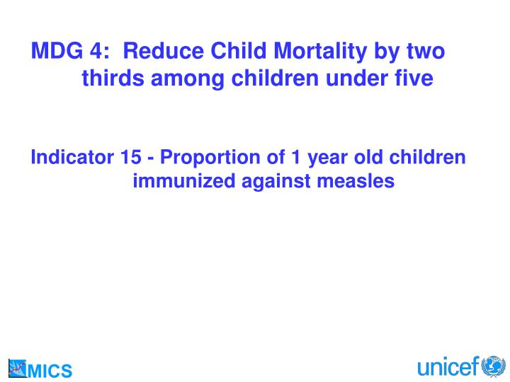 MDG 4:  Reduce Child Mortality by two 	thirds among children under five