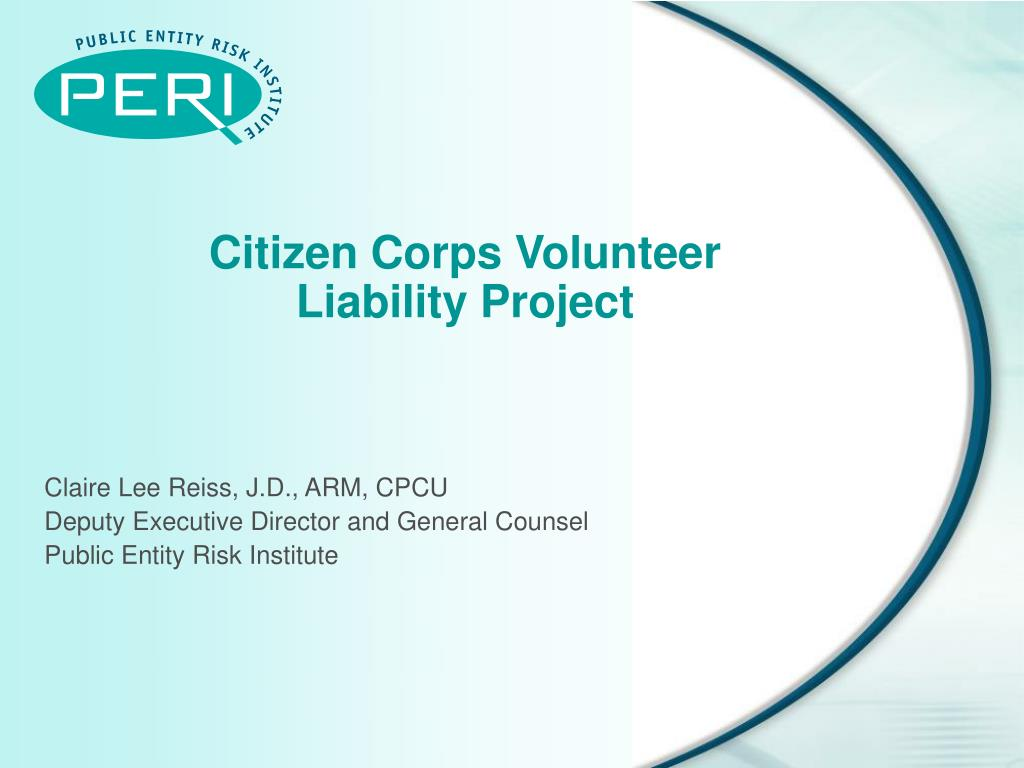 citizen corps volunteer liability project