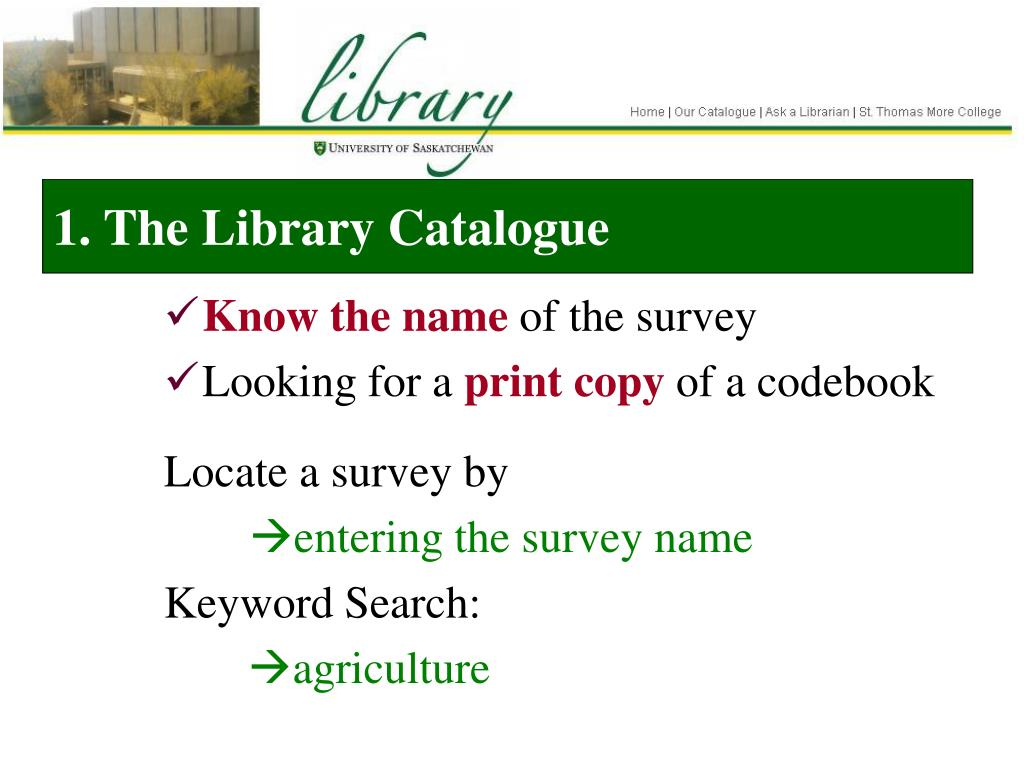 1. The Library Catalogue