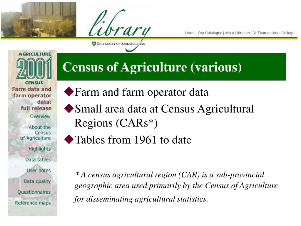 Census of Agriculture (various)