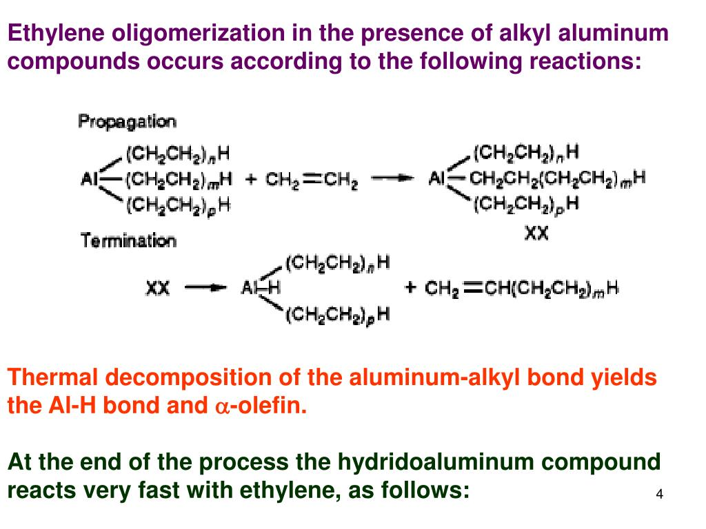 Ethylene oligomerization in the presence of alkyl aluminum compounds occurs according to the following reactions: