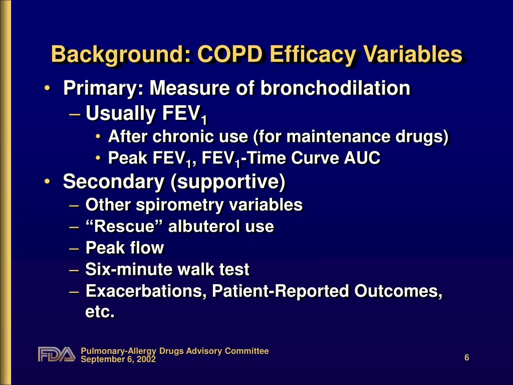 Background: COPD Efficacy Variables