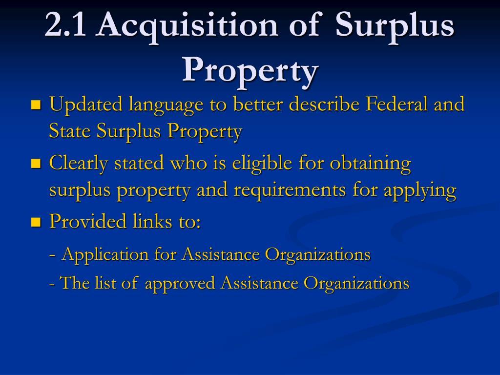 2.1 Acquisition of Surplus Property
