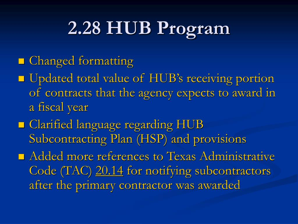 2.28 HUB Program